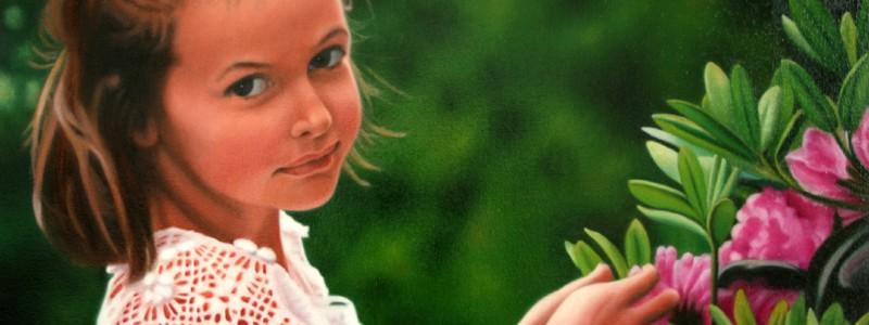 Tableau d'enfant à l'huile exécuté par Suzanne Goudreau